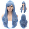 Light sky blue long straight wig with side fringe-Smart Wigs Melbourne VIC