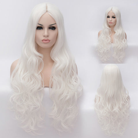 Long white curly wig without fringe