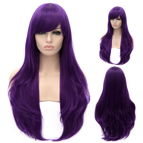 Purple long straight wig with side fringe-Smart Wigs