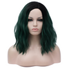 Natural green with dark roots medium wavy costume wig