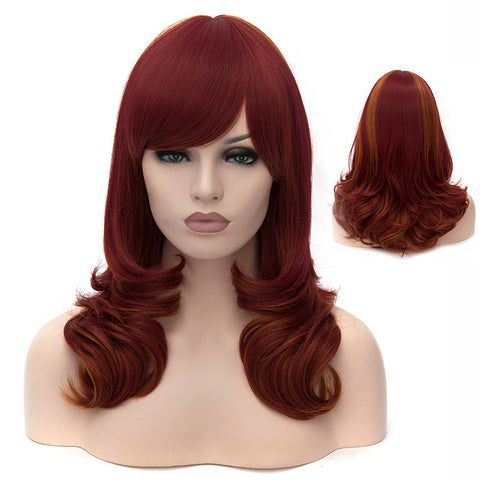 Medium red curly wig