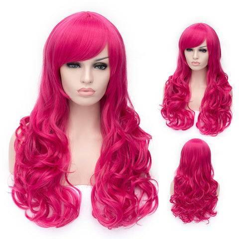 Bright pink long curly wig with side fringe
