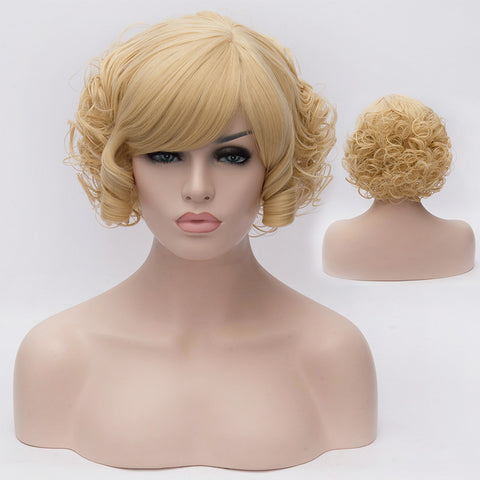 Blonde short curly wig