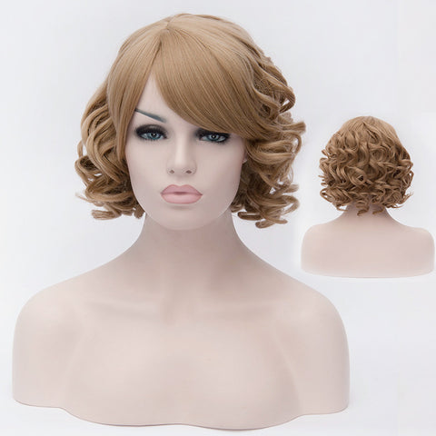 Wheat blonde short curly wig with side fringe