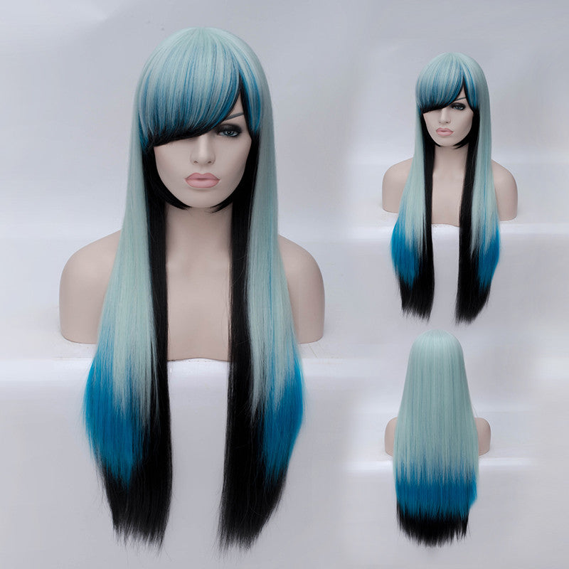 Black blue green 3 tones long straight wig