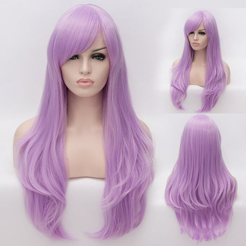 Light purple long straight wig with side fringe-Smart Wigs