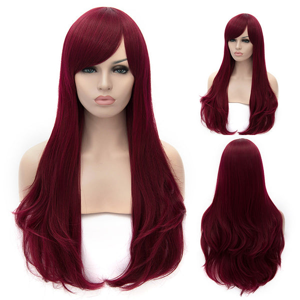 Dark red long straight wig with side fringe-Smart Wigs