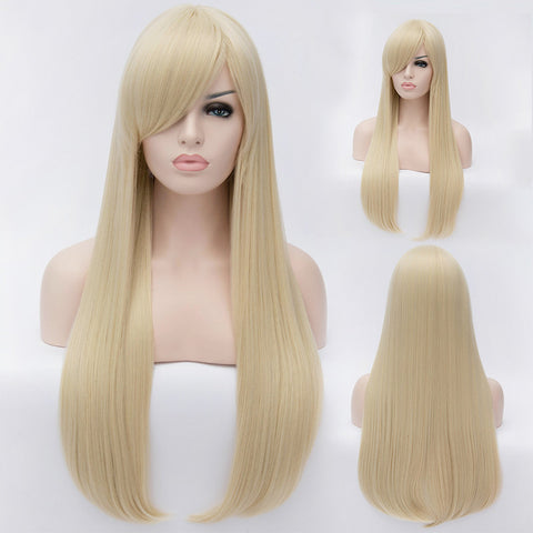 Natural blonde long straight wig with long fringe