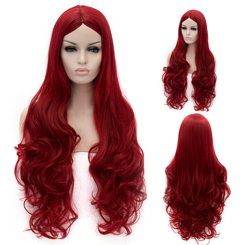Red long curly wig without fringe