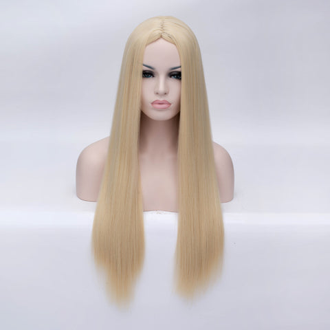 Natural blonde long straight wig without fringe