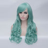 Mint green long curly wig with side fringe