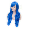 Dark blue long curly wig with side fringe