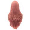Long pink straight wig with side fringe
