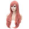 Pink long straight wig with side fringe