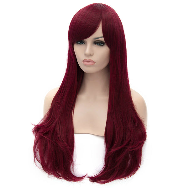 Dark red long straight wig with side fringe
