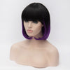 Black/purple bob with straight full fringe