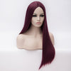Purple long straight wig without fringe middle parting