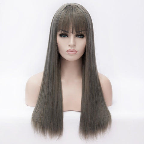 Grey long straight wig with short full fringe