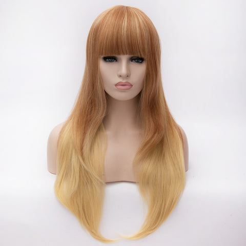 Natural blonde long straight wig with full fringe