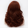 Auburn red medium length curly wig with side fringe