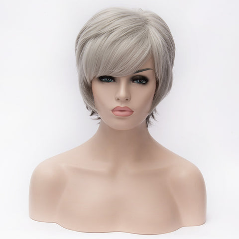 Natural short sliver grey medical wig with side fringe