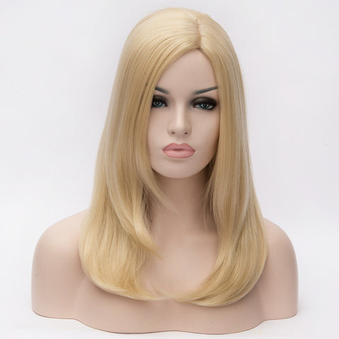 Natural blonde medium length wig without fringe