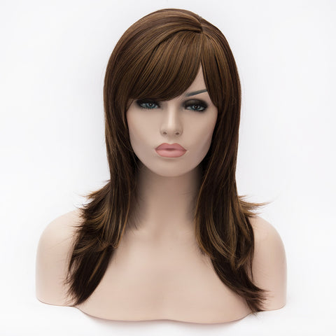Medium brown shoulder length wig with highlights