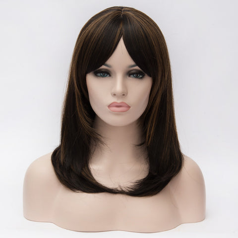 Brown medium length straight wig with highlights