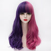 Half purple half pink long curly wig with short fringe
