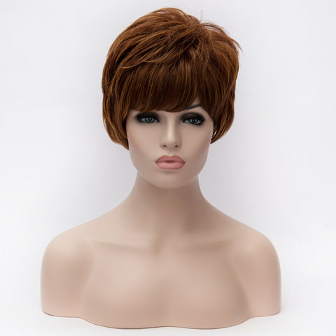Dark auburn short medical wig