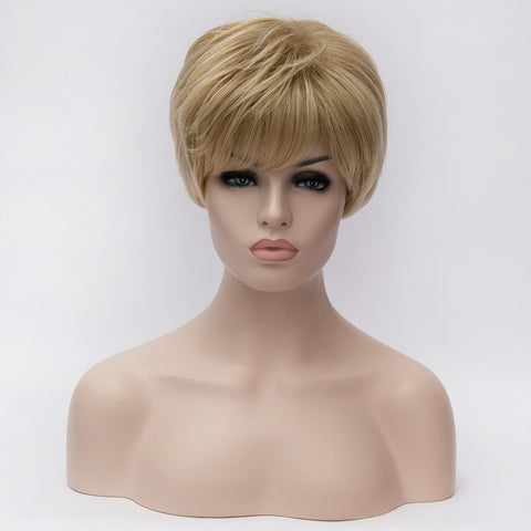 Natural blonde medical short wig with side fringe