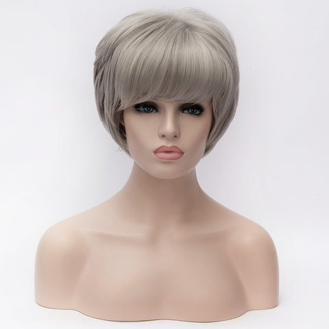 Natural short wavy grey wig with side fringe