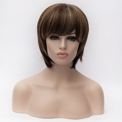 Short brown wig with blonde highlights