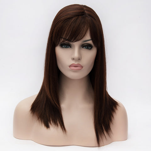 Brown medium length wig with side fringe