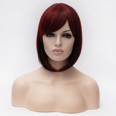 Red short bob wigs with black highlights side fringe