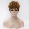 Short blonde wavy wig with side fringe
