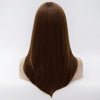Medium brown straight wig with long fringe