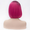 Pink short bob with dark roots without fringe