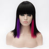Black medium wig with purple and pink highlights