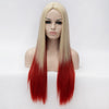 Blonde long straight wig with red highlights