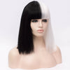 Half white and half black color long wig by Smart Wigs Melbourne