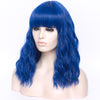 Black blue full fringe long curly costume wig - Smart Wigs Adelaide SA