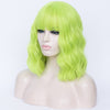 Bright green full fringe medium costume curly wig - Smart Wigs Sydney