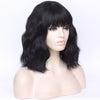 Black full fringe medium curly costume wig - Smart Wigs Brisbane QLD