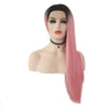 Light Pink With Dark Roots Long Straight Lace Wig- Smart Wigs Adelaide