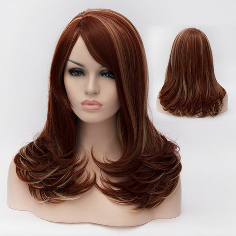 Auburn medium length wig with side fringe-Smart Wigs