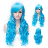 Sky blue long curly wig with side fringe
