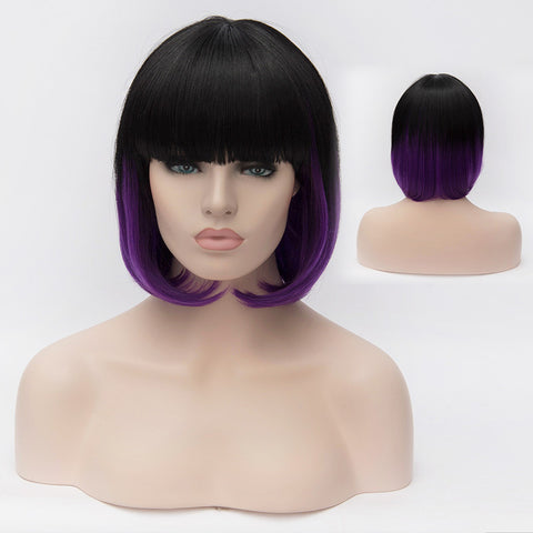 Black/purple bob with straight full fringe-Smart Wigs