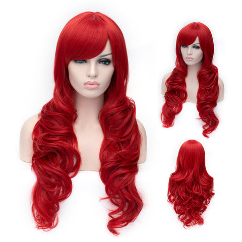 Hot red long curly wig with side fringe