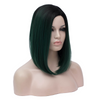 Green with dark roots middle part medium bob wig - Smart Wigs Sydney
